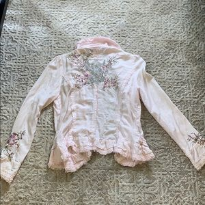 Delicately Embroidered Pink Frill Jacket